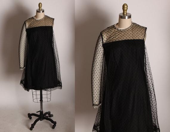 1960s Black Asymmetrical One Sleeve Knee Length Sheer Dot Overlay Rhinestone Collar Formal Cocktail Dress -M