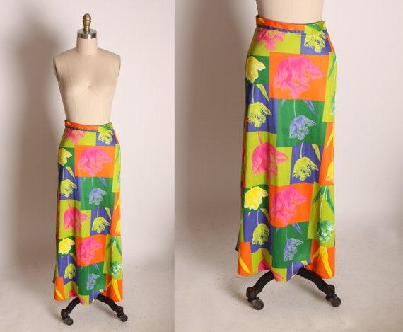 1990s Neon Square Color Block A Line Ankle Length Tulip Flower Mod Pop Art Skirt by Dynamite -S