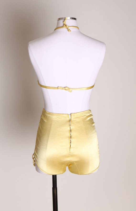 1940s Yellow Satin Stretch High Waisted Two Piece… - image 7