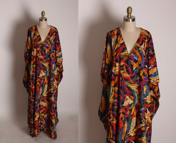 1980s 1990s Novelty Multi-Colored Feather Print Caftan Dress by Patricia Leigh