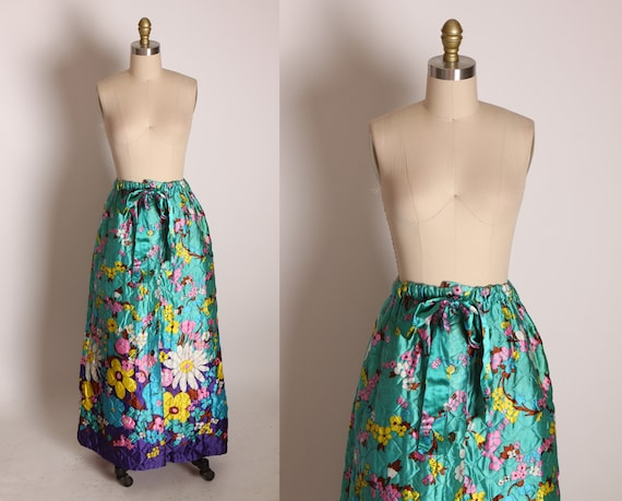 1960s Teal Multi-Colored Acetate Quilted Ankle Length Elastic Waist Floral Flower Power Mod Border Print Skirt -S-L