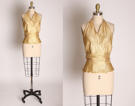 1940s 1950s Gold Lame Halter Top Shirt Blouse -M