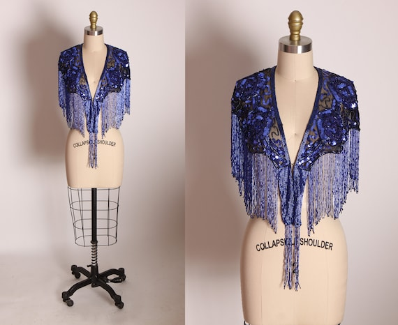 1980s Blue Floral Rose Heavy Beaded Sequin Fringe Flapper Style Shawl by Western Fashions