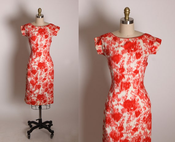 1950s Coral Red Orange Pink and White Abstract Short Sleeve Bow Detail Back Wiggle Dress -XS