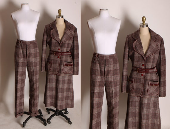 1970s Burgundy and Brown Plaid Equestrian Style Blazer Jacket, Skirt and Matching Flared Pants Three Piece Suit by Lilli Ann -L