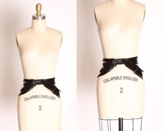 1940s Black Satin Oversized Bow Belt