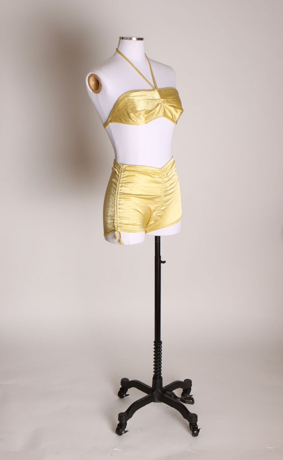 1940s Yellow Satin Stretch High Waisted Two Piece… - image 5