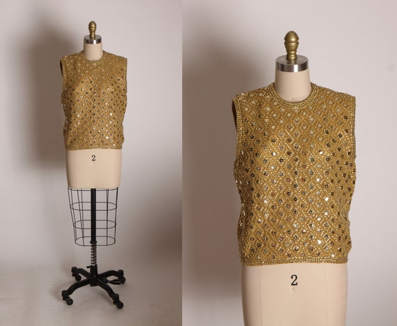 1950s Gold Sequin Sleeveless Wool Zip Up Back Blouse by Made in British Hong Kong -L