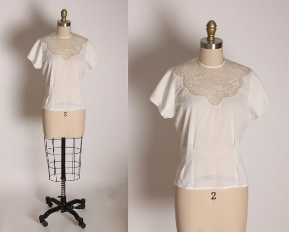 1950s White Nylon Short Sleeve Button Up Back Sheer Swirl Blouse by Malbe -L