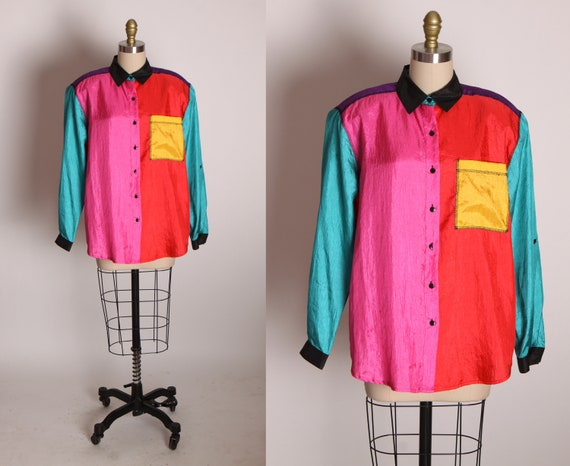 1980s Multi-Colored Color Block Long Sleeve Button Up Blouse by Laura and Jayne -M