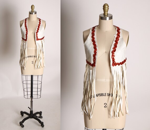 1960s White and Red Sequin Vinyl Fringe Cowgirl Sh