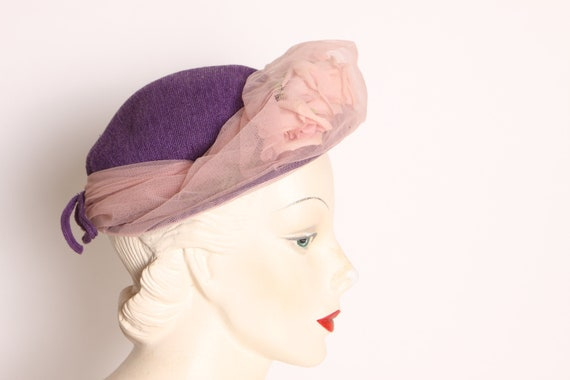 1950s Purple Pink Flower Sheer Overlay Formal Hat - image 2