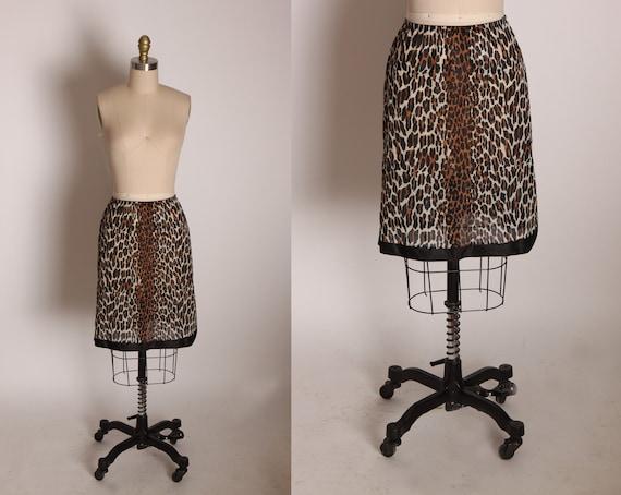 1950s 1960s Leopard Print Side Split Lingerie Skirt Slip by Vanity Fair -M