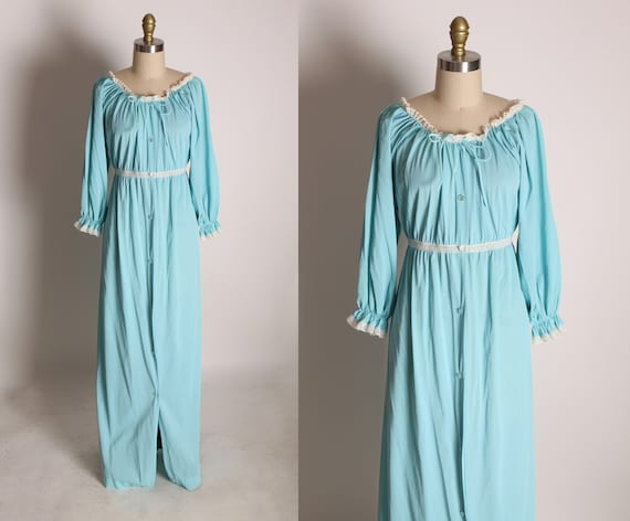 Late 1960s Turquoise Blue & White Lace Trim 3/4 Length Sleeve Full Length Button Up Night Gown Robe by Texsheen -M