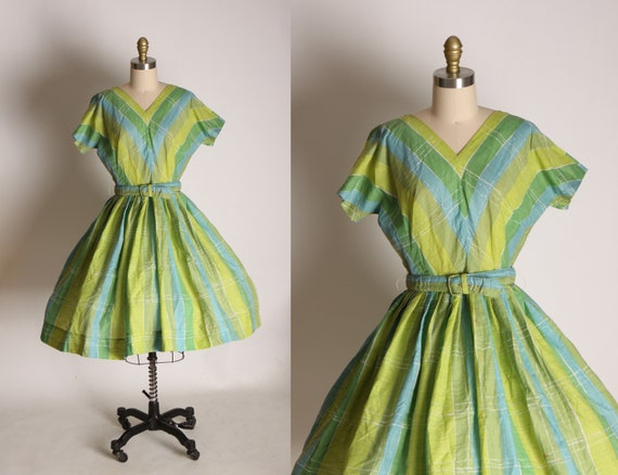 1950s Green, Blue and White Short Sleeve Belted Fi