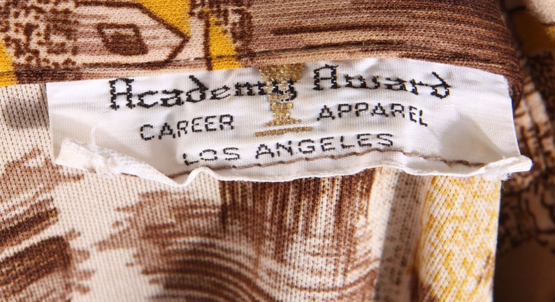 1970s Novelty House Home Realty Century 21 Realtor Polyester Button Down Shirt by Academy Award L