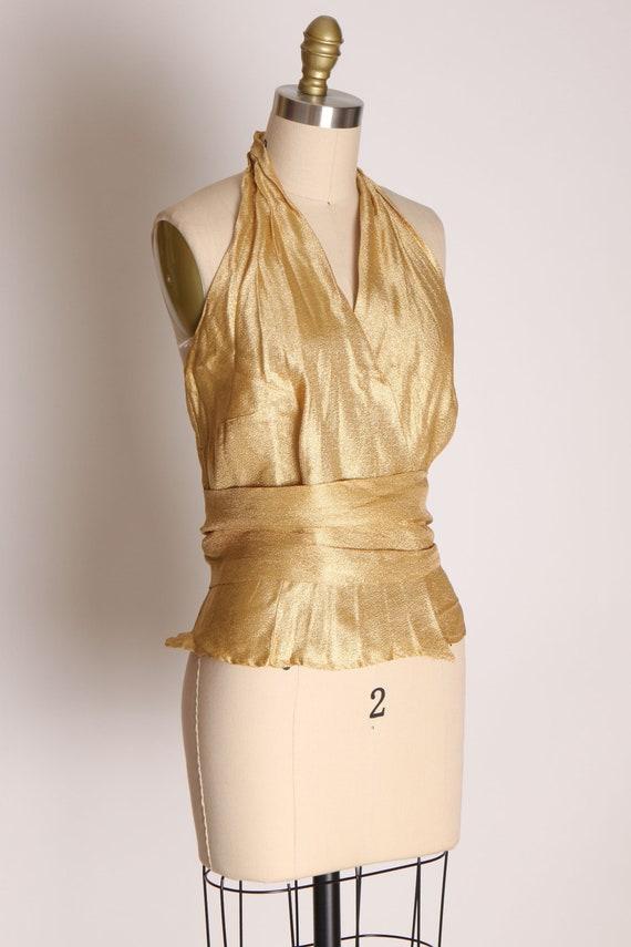 1940s 1950s Gold Lame Halter Top Shirt Blouse -M - image 6