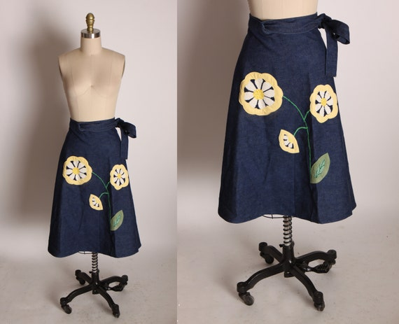 1970s Blue, Yellow, White and Green Flower Appliqué Denim Wrap Skirt -M-L