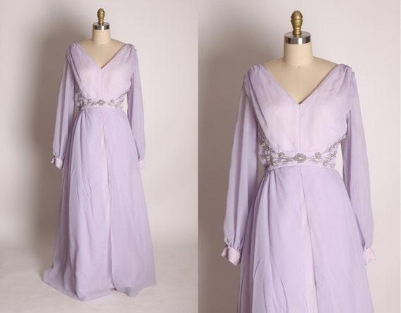1960s Light Pastel Purple Chiffon Sheer Overlay Si