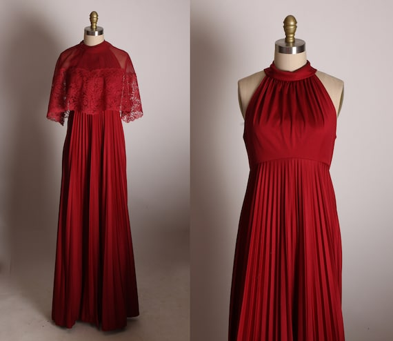 1970s Dark Red Burgundy Sleeveless Cage Back Full Length Formal Prom Dress with Matching Sheer Lace Trim Over Cape -XS
