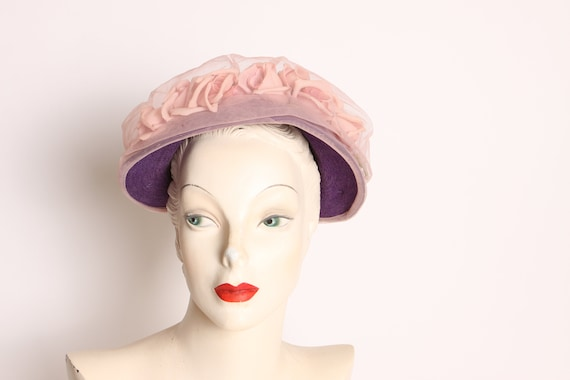 1950s Purple Pink Flower Sheer Overlay Formal Hat - image 3