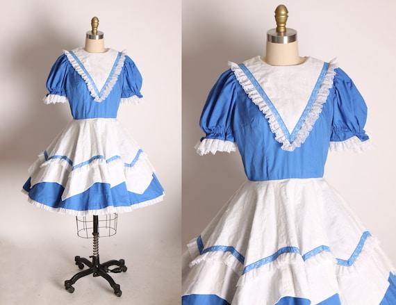 1970s White and Blue Short Sleeve Ruffle Prairie Western Square Dance Dress -S