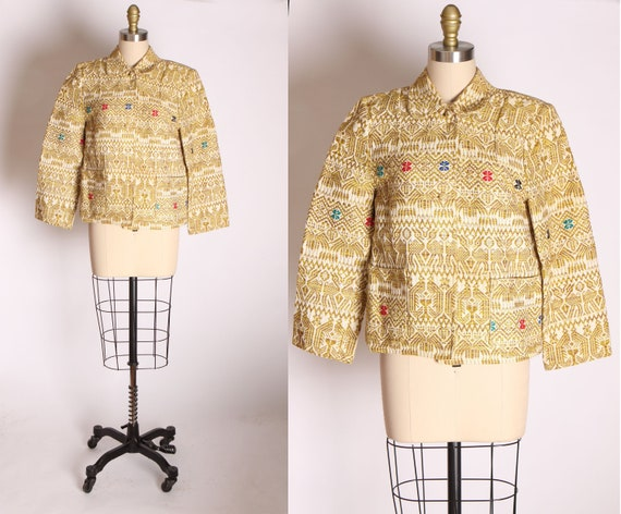 1950s 1960s Tapestry Guatemalan Long Sleeve Button