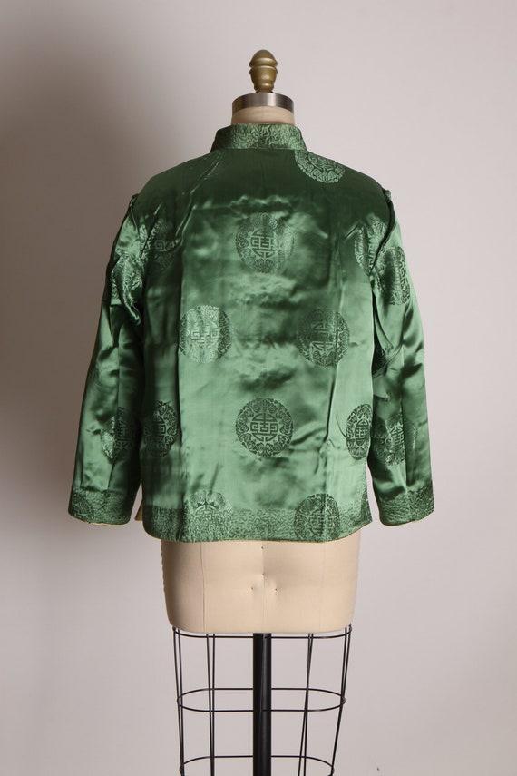 1950s Cream and Green Reversible Chinese Satin Ja… - image 5