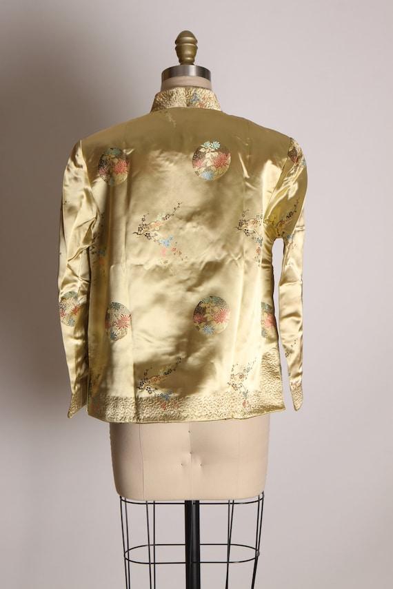 1950s Cream and Green Reversible Chinese Satin Ja… - image 4