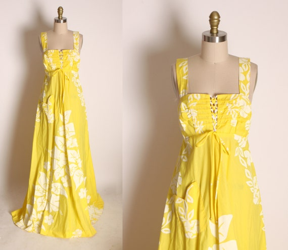1970s Yellow and White Floral Wide Strap Sleeveless Full Length Hawaiian Hibiscus Print Corset Lace Up Bodice Dress by Tahiti Imports -L
