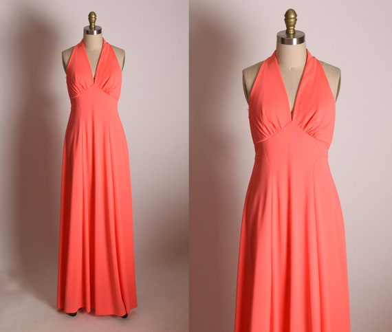 1970s Bright Pink Sleeveless Gathered Bust Line Full Length Formal Cocktail Marilyn Monroe Style Dress -XS
