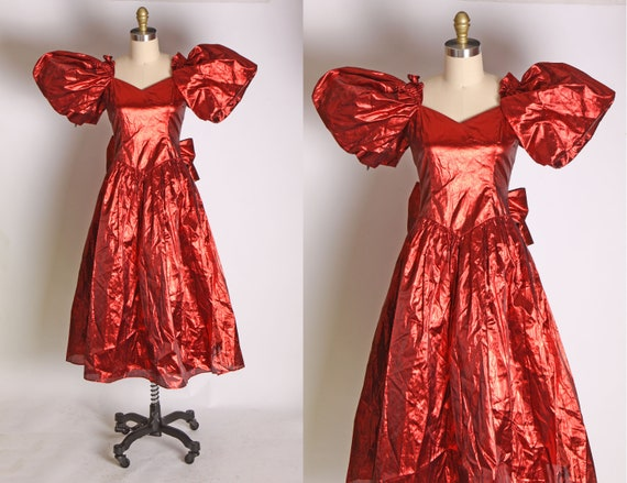1980s Red Lame Oversized Puffy Sleeve Metallic For
