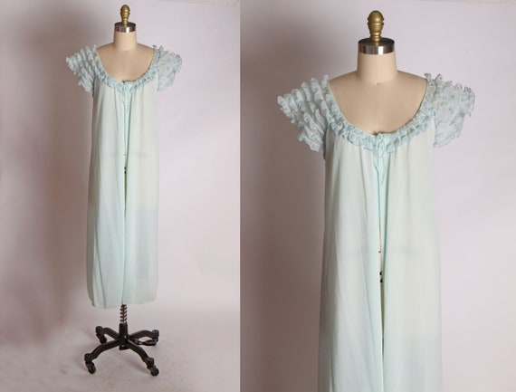 1950s 1960s Pale Blue Ruffle Sleeves Long Short Sl