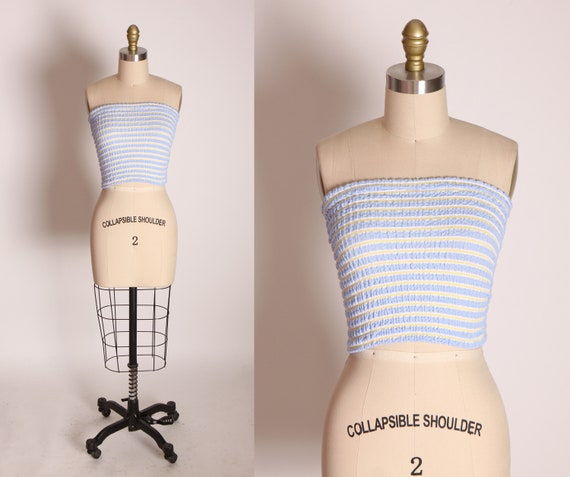 1990s Light Blue and Light Yellow Striped Ruched Stretchy Tube Top by No Boundaries