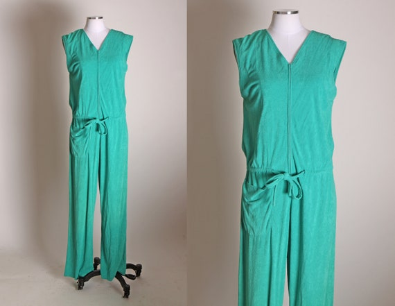 1970s Green Terry Cloth Style Material Sleeveless One Piece Jumpsuit -L