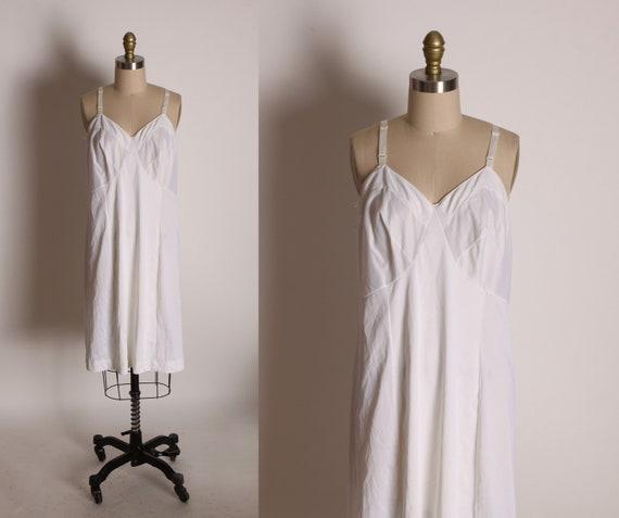1970s White Adjustable Strap Lingerie Dress Slip by Sears -L