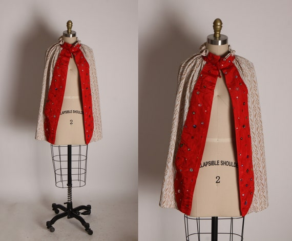 1960s Beige, White and Red Sequin and Beaded Double Knit Polyester Showgirl Burlesque Costume Cape