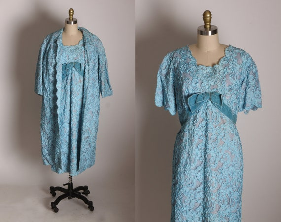 Early 1960s Blue Soutache Lace Short Sleeve Formal Blue Velvet Bow Dress with Matching 3/4 Length Sleeve Jacket -XL