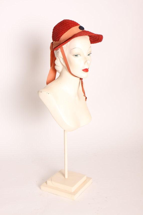 1930s Tomato Red Woven Straw Bonnet Style Drawstri