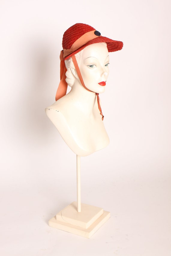 1930s Tomato Red Wove  Straw Bonnet Style Drawstri