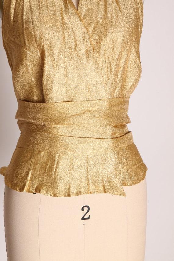 1940s 1950s Gold Lame Halter Top Shirt Blouse -M - image 5