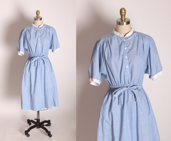 1970s Blue Chambray Style and White Detail Collared Fit and Flare Half Sleeve Dress by Country Miss -L