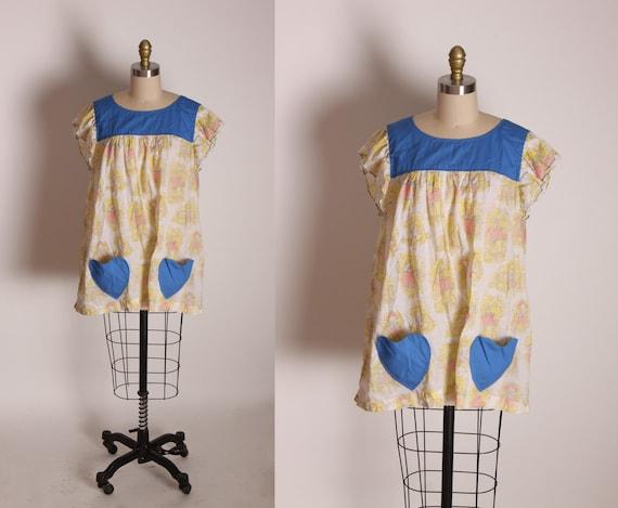 1970s Blue and Yellow Novelty Holly Hobbie Style Heart Pocket Short Flutter Sleeve Shirt Blouse -1XL