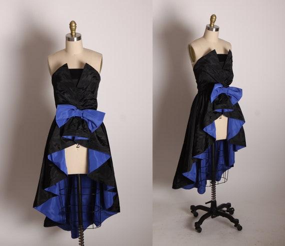 1980s Black and Blue Asymmetrical Strapless High Cut Front Hostess Overskirt Formal Cocktail Dress