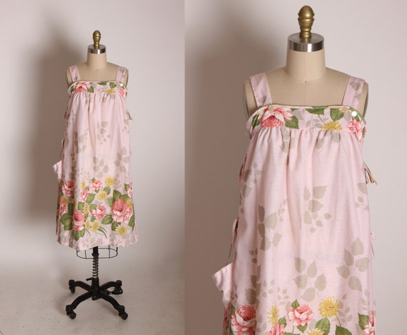 1970s Pink, Yellow and Green Romantic Rose Print Wide Strap Tie Side Shift Dress by Smart Time -M