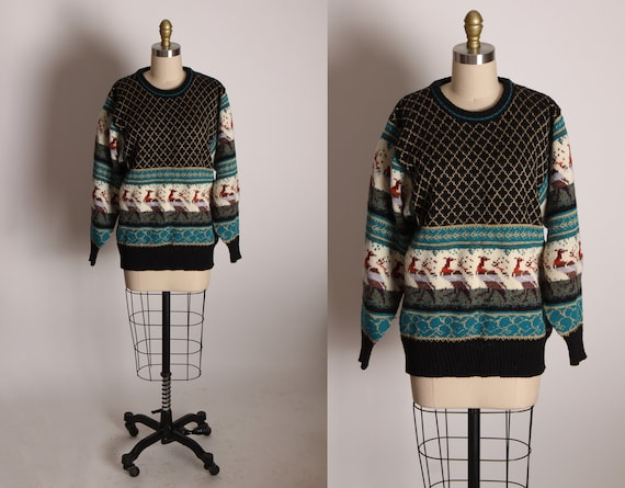 1990s Black, White and Teal Long Sleeve Novelty Knit Peacock Pullover Sweater by The Import Workshop