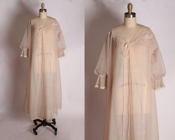 1950s Light Cream Pink Nude Tone Sheer Gathered Sl