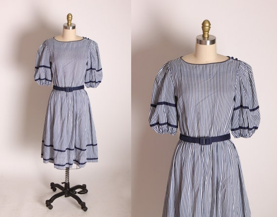 1970s Blue and White Striped Puffy Half Sleeve Fit and Flare Belted Dress by R.E.O. Originals -M