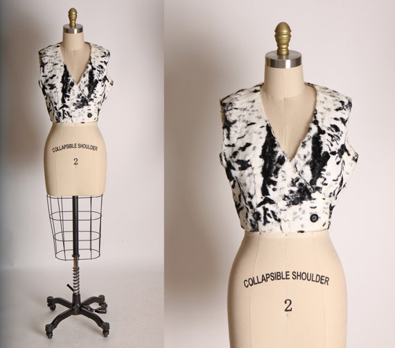 1960s Black and White Cow Print Style Faux Fur Cro