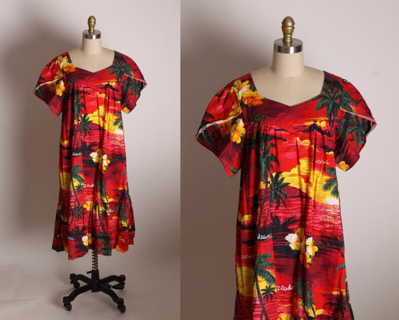 1980s Red, Yellow, Green and Black Short Petal Sleeve Muu Muu Style Hawaiian Novelty Print Dress by Ali'I Fashions Hawaii -XL